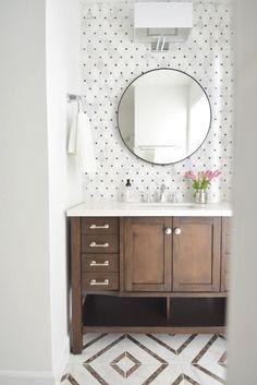 Hall Bathroom Makeover - love the polka dot tile backsplash and the geometric floor tile. Hall Bathroom, Bathroom Renos, Bathroom Vanities, Bathroom Remodeling, Bathroom Cabinets, Glass Bathroom, Wood Bathroom, Cupboards, Remodeling Ideas