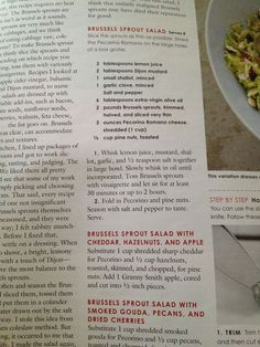 Brussels Sprout Salad w variations from Cook's Country: