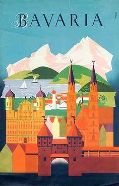 Bavaria Original Vintage German Travel Poster