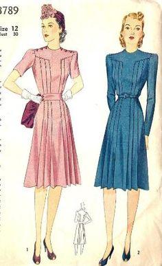 1940s Misses Dress Vintage Sewing Pattern by gloriaU