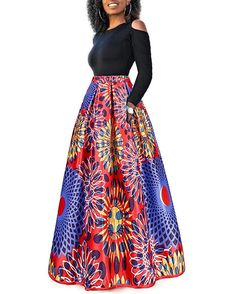 91bbcb47f1 Nice Women s African Floral Print A Line Long Skirt  ad ...