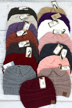 a1ef53ac829 Original CC beanie. Features messy bun hole in the top. Wear with a ponytail