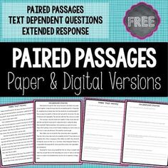 Paired passages and text dependent questions extend students' reading comprehension and writing skills! Reading Lessons, Reading Strategies, Reading Activities, Reading Skills, Writing Skills, Teaching Reading, Guided Reading, Races Writing Strategy, Class Activities