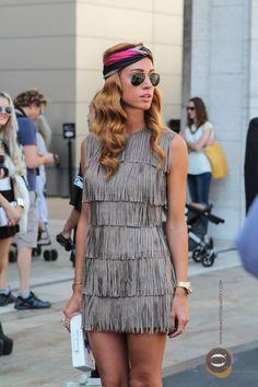 Fringed dress at the Mercedes Benz Fashion Week. #mbfw #nyfw