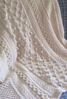 Diamonds and Bobbles Afghan #knitting #patterns  #afs 9/5/13