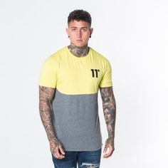 2a955a7706a Curved Cut and Sew - Yellow Charcoal. Crew Neck