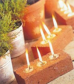 #1. Cute tea lights, perfect for summer nights. | 20 DIY Ideas For Creating Cool Garden or Yard Brick Projects