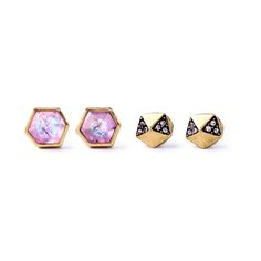 Personality Costume Jewelry Vintage Gold Crystal Alloy Geometric Multicolor Gems Ear Studs Earrings Set 2 Pcs Brincos Christmas