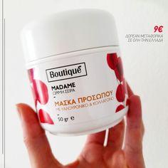 Την έχουμε λατρέψει!!!💕 ΜΑΣΚΑ ΠΡΟΣΩΠΟΥ ΜΕ ΥΑΛΟΥΡΟΝΙΚΟ & ΚΟΛΛΑΓΟΝΟ 9€ * Δωρεάν μεταφορικά σε όλη την Ελλάδα #boutiqueshopgr #boutiqueshop #eshop #shoponline #μάσκαπροσώπου #υαλουρονικό #κολλαγόνο #collagen #facemask #hyaluronic Boutique, Boutiques
