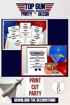 Top Gun Birthday Party Decorations - Party Decor & Positivity - Top Gun Birthday Party Decorations A Top Gun Birthday Party is such a fun theme for any age! Get all the printable top gun party supplies in one place! Birthday Party Decorations Diy, Boy Birthday Parties, Birthday Party Invitations, Diy Birthday, Birthday Ideas, Top Gun Party, Unique Party Themes, Mad Tea Parties, Heart Party