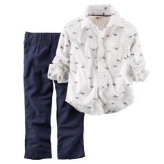 Give him a cool, grown-up look with this boys' Carter's button-down shirt and canvas pants set. In white/blue. Toddler Boy Fashion, Toddler Outfits, Boy Outfits, Carters Baby Boys, Toddler Boys, Funny Sweaters, T Shirt Yarn, Navy Pants, Outfit Sets