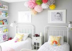 I like this gray wall with color accents for girls room....its bright and airy