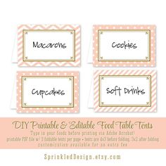 Printable Party Food Tents Folding Editable by SprinkledDesign, $5.00