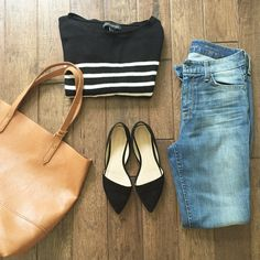 french style… stripes + black flats