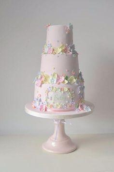 very girly flower theme birthday cake