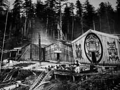 Kwakwaka'wakw village of Xumtaspi Nawittl. 1884
