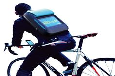 iPad backpack and phone (concept) helps cyclists communicate with drivers, producing braking and turning signals and a rearview mirror.