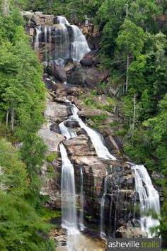 Hike the Whitewater Falls Trail to a towering, tumbling waterfall near Cashiers, NC