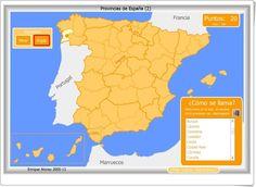 """""""Provincias españolas"""" (Juego de Geografía de Primaria y Secundaria) Social Studies, Spain, Study, Alonso, Socialism, Constitution Day, Science Area, Interactive Activities, Teaching Resources"""