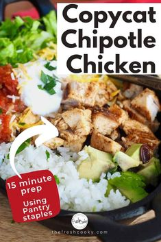 Skip take out, because now you can make this copycat Chipotle Chicken recipe right in your own home. A few simple pantry staples to make a delicious, copycat marinade, let it hang out in the marinade for a couple hours and WOW! Recipe on Chipotle Chicken Marinade, Chicken Marinades, Chipotle Chicken Copycat, Chipotle Copycat Recipes, Copykat Recipes, Fondue Recipes, Beef Recipes, Mexican Food Recipes, Healthy Recipes