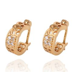 5mm 18K Gold Plated Fashion Beautiful Hollow Out Design Inlaid Zircon Copper Round Earrings Wedding Jewelry