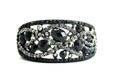 Black crystal encrusted bangle bracelet