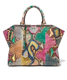 Medium Python and Leather Tote by Fendi is the bag every fashion girl wants this Spring. - fashionable handbags for women, ladies designer handbags sale, cheap leather handbags Luxury Bags, Luxury Handbags, Fashion Handbags, Fashion Bags, Designer Handbags, Brown Leather Handbags, Brown Leather Totes, Leather Purses, Handbags On Sale