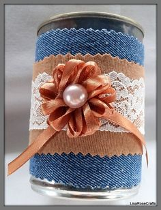 Denim and lace decoration, Recycled tin can, Unusual table decoration, Wedding…