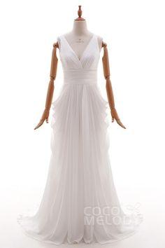 Lovely V-Neck Court Train Chiffon Ivory Sleeveless Open Back Wedding Dress with Draped HS4382