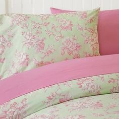 Pink and Green Toile Bedding | Rose Floral Toile Duvet, Twin/Twin XL, Green/Pink - Polyvore