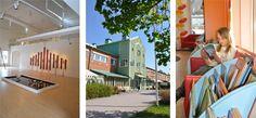 Kollage av bilder från Kulturhuset Ängeln. Katrineholms konsthall, Kulturhuset utifrån och tjej som läser