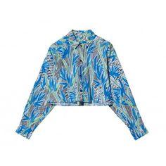 Long sleeve button up cropped flower print top  17'' shoulder to hem  100% Cotton; Machine Wash  Imported, Madagascar  Sizes 34-40; Model wears size 36  Color: Cobalt