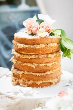 Scrumptious naked wedding cake with German chocolate filling! A simple yet dazzling treat by Let Them Eat Cake | WedAZ's Spring 2014 Cover Shoot