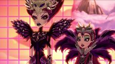 The Evil Queen and Raven Queen in the Dragon Games Ever After High movie.