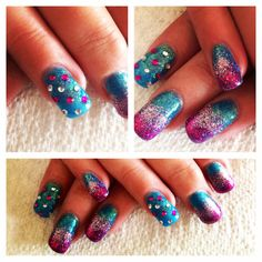 Turquoise and pink glitter nails with rhinestones. Gel nails, gel polish nail art