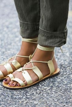 Love these sandals worn with cuffed jeans - Faryl Robin   Free People Womens Vegan Tie Up Sandal