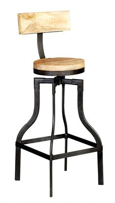 instrument BRICK bar stool (W30 x D30 x H105 cm) 100% reclaimed wood and metal. Eco friendly.