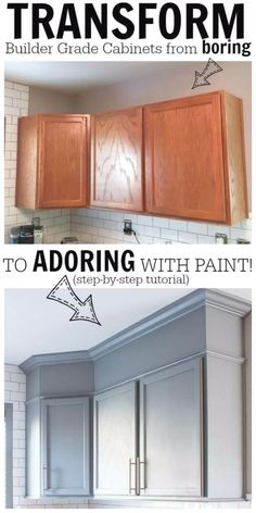 DIY Home Improvement Projects On A Budget - Transform Boring Cabinets - Cool Home Improvement Hacks, Easy and Cheap Do It Yourself Tutorials for Updating and Renovating Your House - Home Decor Tips and Tricks, Remodeling and Decorating Hacks - DIY Projects and Crafts by DIY JOY http://diyjoy.com/home-improvement-ideas-budget #BudgetHomeDecorating, #HomeDecorAccessories, #HomeDécor, #easykitchenremodeling #coolhomeimprovementideas