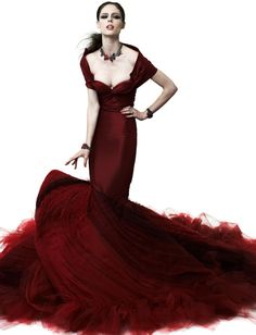 Zac Posen crimson tulle mermaid gown, Resort 2012