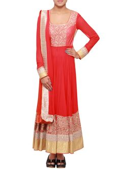 Red anarkali suit adorn in zardosi embroidery only on Kalki