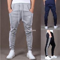 New 2015 Sweat Pants: Fashion Mens Jogging Running Sports Trousers Drop Crotch Harem Pants Skinny Slim Fit Sweatpants for Men