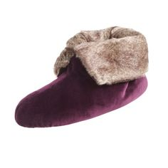 Stylish sophistication that you'll look forward to wearing everyday. Super soft plush velour fabric is perfect for relaxing at home. Lined with a faux fur cuff and collar for lasting warmth. #KeepersofHandsandFeet