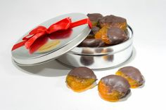 Whether you're looking for an elegant hostess gift, this Dark Chocolate Dipped Glazed Apricots Gift Tin is perfect. Or, you can dip your own and set out as a snack when you are the hostess!
