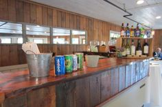 The bar in the new function room at Fosters Clambakes and Catering in York, Maine.