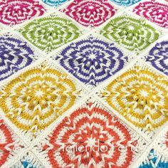 Crochet: cobija con grannies o cuadrados con trenzas de vainillas!