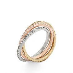 Fossil JF00852998 tricolor ring  van staal - Trendjuwelier
