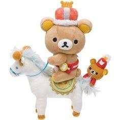 Rilakkuma Wonderland brown bear on horse plushie San-X 6