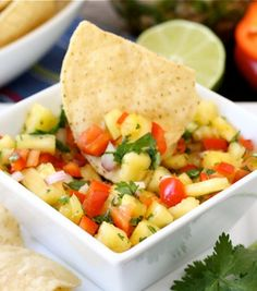 Pineapple Salsa Recipe on twopeasandtheirpod.com. Love this fresh and simple salsa!