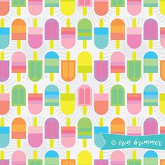 Just in time for summer! A colorful popsicle pattern by pattern camper & surface pattern designer Erin Brimmer.
