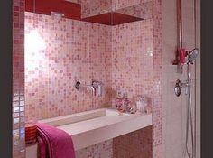 pink bathroom love that tile.
